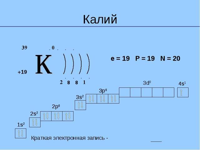 Строение атома калия (k), схема и примеры