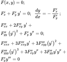Дифференциал неявной функции, теория и примеры