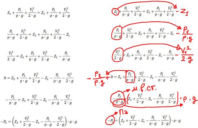 Формула уравнения Бернулли для жидкости