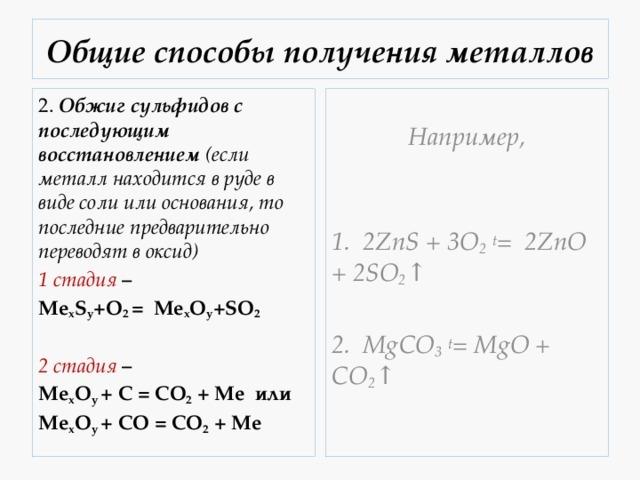 Получение металлов в химии