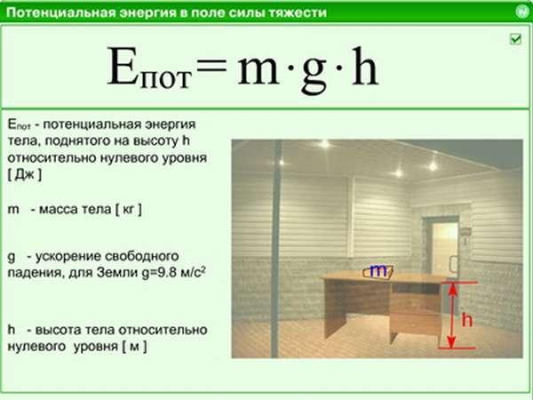 Формула кинетической энергии