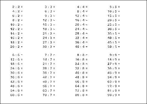 Таблица деления с примерами