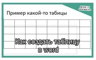Как сделать таблицу в Ворде