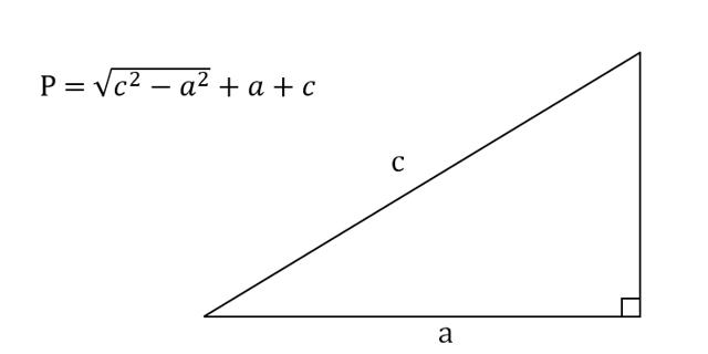 Формулы периметра прямоугольного треугольника