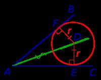 Радиус вписанной окружности треугольника