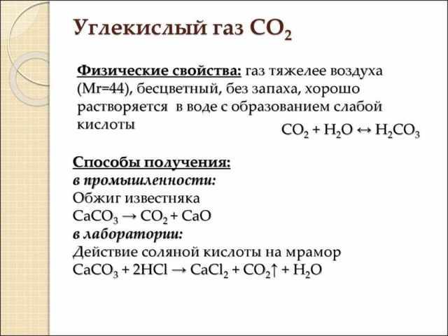 Формула углекислого газа в химии