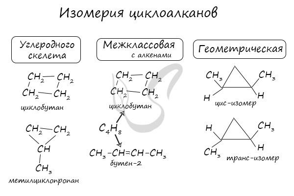 Строение циклоалканов (cnh2n), схема и примеры